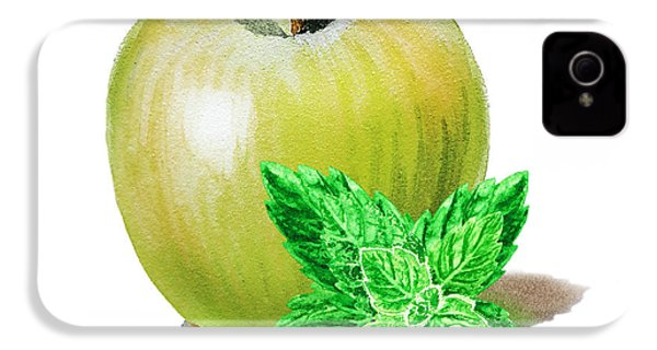 IPhone 4 Case featuring the painting Green Apple And Mint by Irina Sztukowski