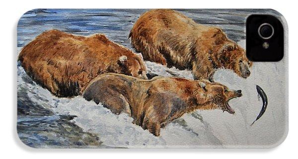 Grizzlies Fishing IPhone 4 Case by Juan  Bosco