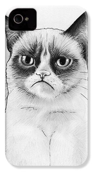 Grumpy Cat Portrait IPhone 4 / 4s Case by Olga Shvartsur