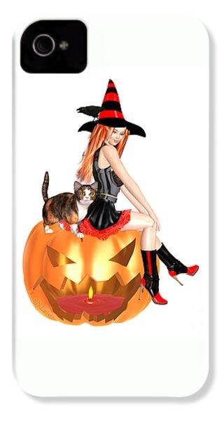 Halloween Witch Nicki With Kitten IPhone 4 Case by Renate Janssen