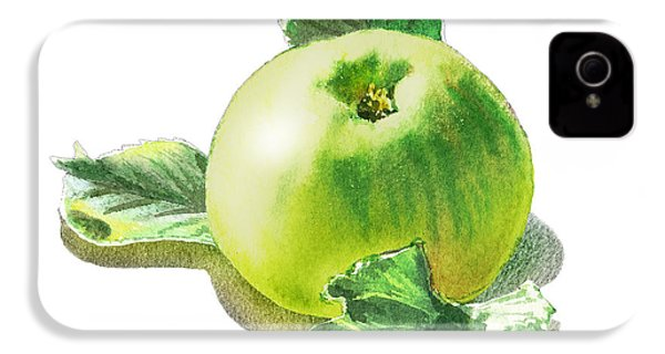 IPhone 4 Case featuring the painting Happy Green Apple by Irina Sztukowski