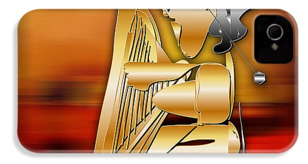 IPhone 4 Case featuring the digital art Harp Player by Marvin Blaine