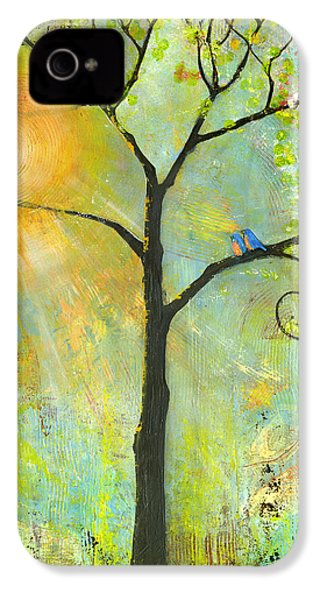 Hello Sunshine Tree Birds Sun Art Print IPhone 4 / 4s Case by Blenda Studio