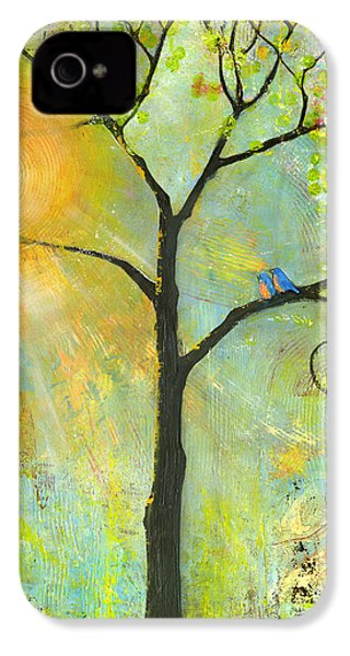 Hello Sunshine Tree Birds Sun Art Print IPhone 4 Case by Blenda Studio