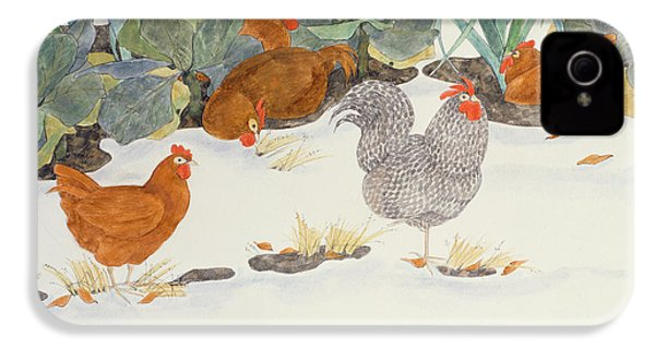 Hens In The Vegetable Patch IPhone 4 Case by Linda Benton
