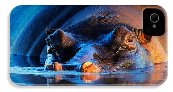 Hippopotamus  At Sunset IPhone 4 / 4s Case by Johan Swanepoel