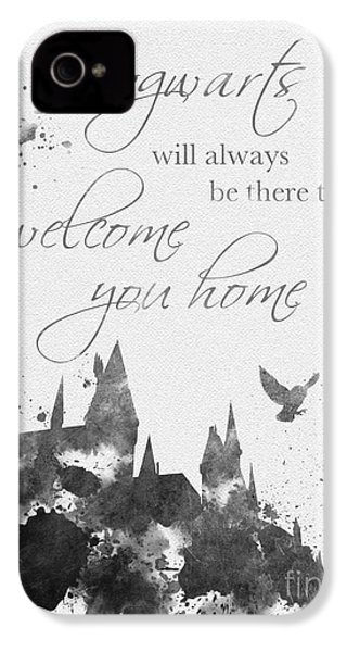 Hogwarts Quote Black And White IPhone 4 Case by Rebecca Jenkins