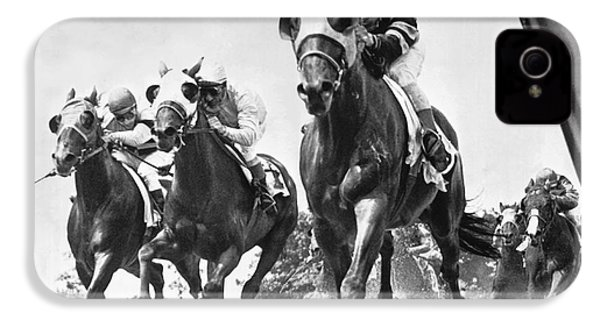 Horse Racing At Belmont Park IPhone 4 Case by Underwood Archives