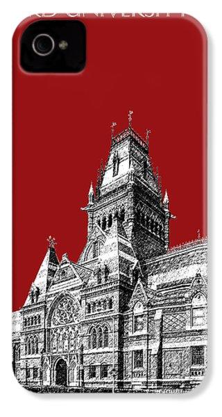 Harvard University - Memorial Hall - Dark Red IPhone 4 Case by DB Artist