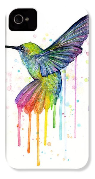 Hummingbird Of Watercolor Rainbow IPhone 4 / 4s Case by Olga Shvartsur