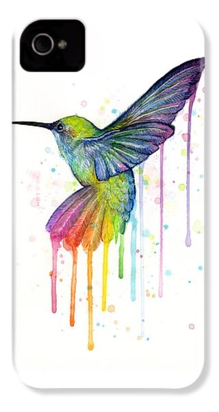 Hummingbird Of Watercolor Rainbow IPhone 4 Case by Olga Shvartsur