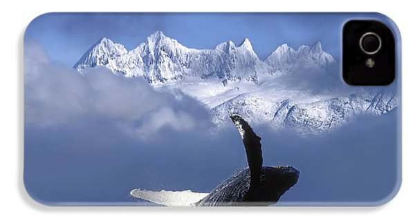 Humpback Whale Breaches In Clearing Fog IPhone 4 Case by John Hyde