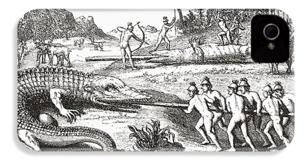 Hunting Alligators In The Southern States Of America IPhone 4 Case by Theodor de Bry