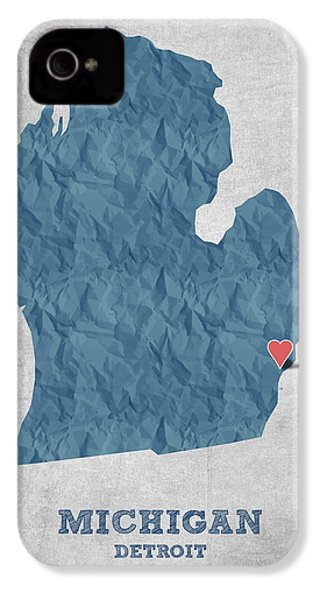 I Love Detroit Michigan - Blue IPhone 4 Case by Aged Pixel