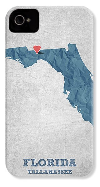 I Love Tallahassee Florida - Blue IPhone 4 Case by Aged Pixel