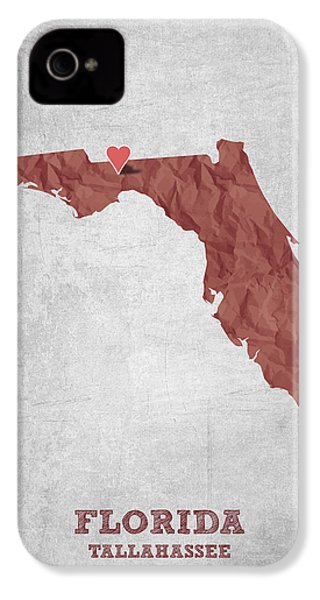 I Love Tallahassee Florida - Red IPhone 4 Case by Aged Pixel