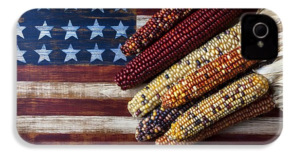 Indian Corn On American Flag IPhone 4 Case by Garry Gay