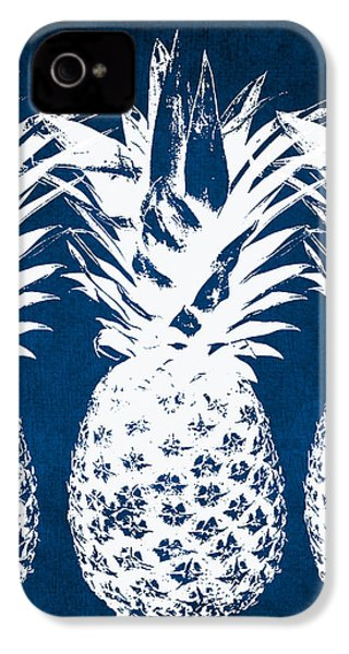 Indigo And White Pineapples IPhone 4 Case by Linda Woods