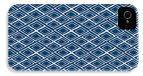 Indigo And White Small Diamonds- Pattern IPhone 4 / 4s Case by Linda Woods