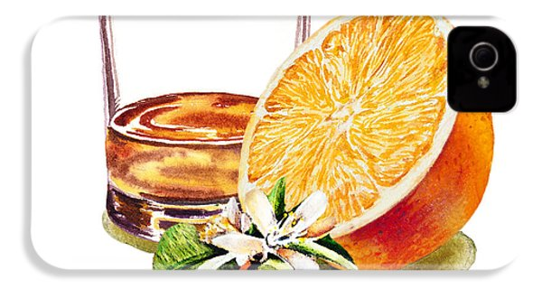 IPhone 4 Case featuring the painting Irish Whiskey And Orange by Irina Sztukowski