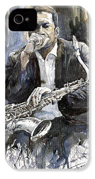 Jazz Saxophonist John Coltrane Yellow IPhone 4 Case by Yuriy  Shevchuk