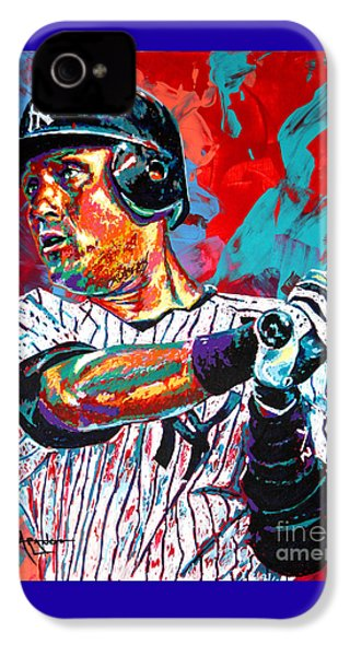 Jeter At Bat IPhone 4 / 4s Case by Maria Arango