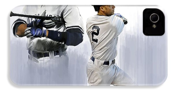 Jeter V Derek Jeter IPhone 4 / 4s Case by Iconic Images Art Gallery David Pucciarelli