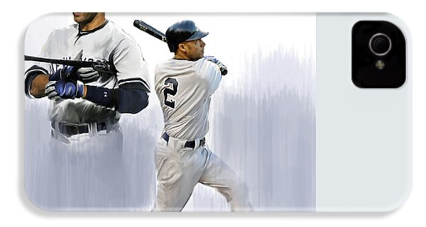 Jeter V Derek Jeter IPhone 4 Case by Iconic Images Art Gallery David Pucciarelli