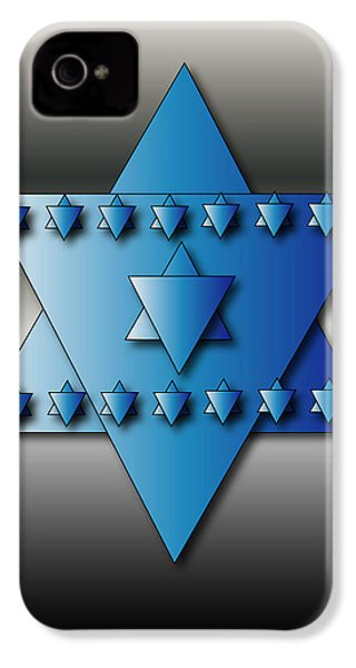 IPhone 4 Case featuring the digital art Jewish Stars by Marvin Blaine