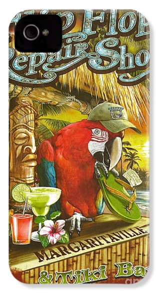 Jimmy Buffett's Flip Flop Repair Shop IPhone 4 / 4s Case by Desiderata Gallery