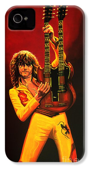 Jimmy Page Painting IPhone 4 Case by Paul Meijering