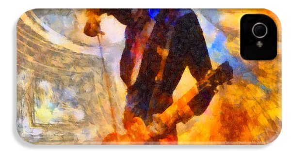 Jimmy Page Playing Guitar With Bow IPhone 4 Case by Dan Sproul