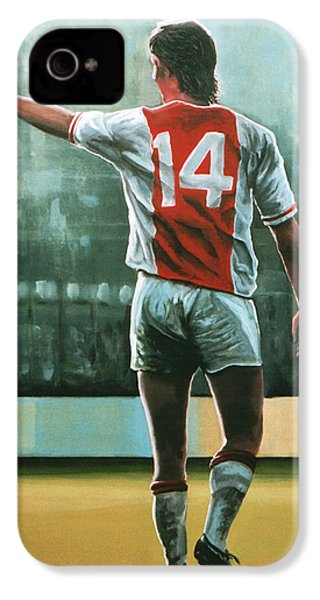 Johan Cruijff Nr 14 Painting IPhone 4 Case by Paul Meijering