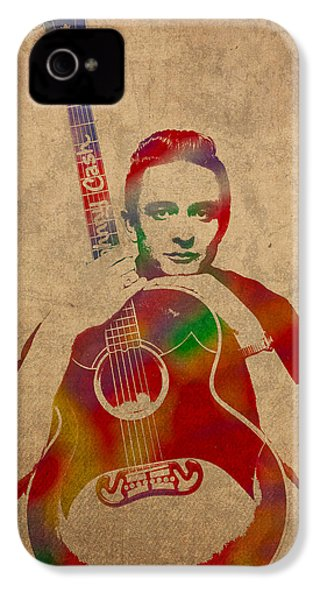Johnny Cash Watercolor Portrait On Worn Distressed Canvas IPhone 4 / 4s Case by Design Turnpike