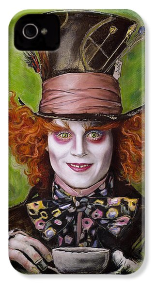Johnny Depp As Mad Hatter IPhone 4 Case by Melanie D