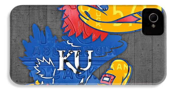 Kansas Jayhawks College Sports Team Retro Vintage Recycled License Plate Art IPhone 4 Case by Design Turnpike