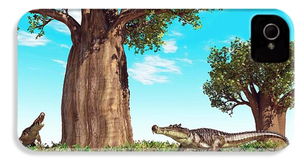 Kaprosuchus Prehistoric Crocodiles IPhone 4 Case by Walter Myers