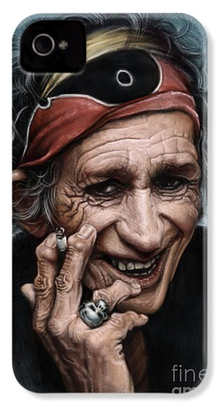 Keith Richards IPhone 4 Case by Andre Koekemoer