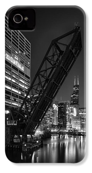Kinzie Street Railroad Bridge At Night In Black And White IPhone 4 Case by Sebastian Musial