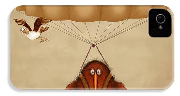 Kiwi Bird Kev Parachuting IPhone 4 Case by Marlene Watson