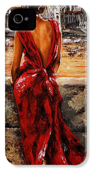 Lady In Red  34 -  I Love Budapest IPhone 4 Case by Emerico Imre Toth