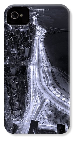 Lake Shore Drive Aerial  B And  W IPhone 4 Case by Steve Gadomski
