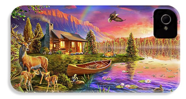 IPhone 4 Case featuring the drawing Lakeside Cabin  by Adrian Chesterman