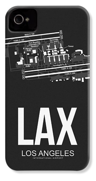 Lax Los Angeles Airport Poster 3 IPhone 4 Case by Naxart Studio