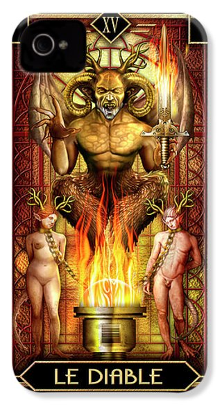 IPhone 4 Case featuring the drawing Le Diable by Ciro Marchetti