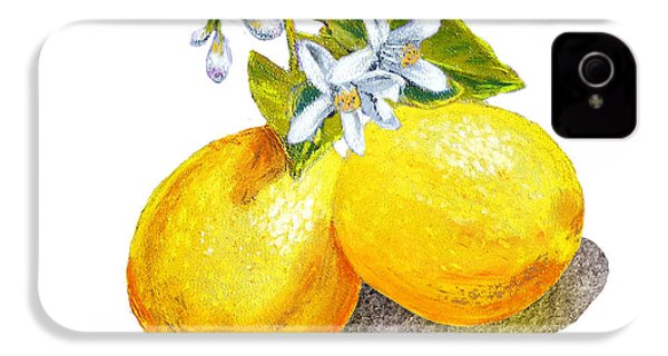 IPhone 4 Case featuring the painting Lemons And Blossoms by Irina Sztukowski