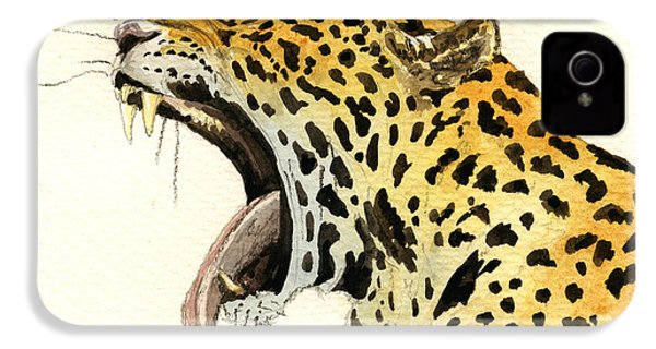 Leopard Head IPhone 4 / 4s Case by Juan  Bosco