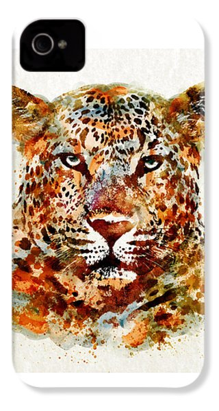 Leopard Head Watercolor IPhone 4 Case by Marian Voicu