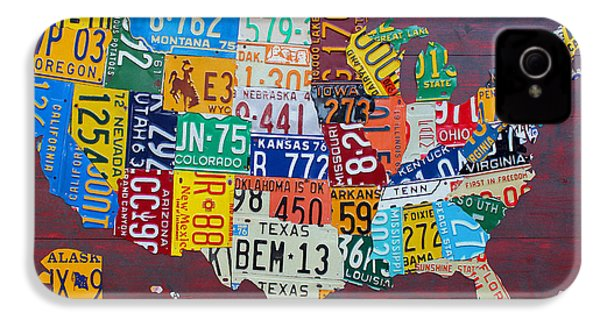 License Plate Map Of The United States IPhone 4 Case