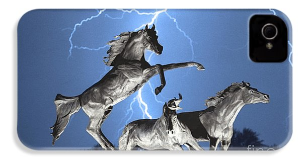 Lightning At Horse World Bw Color Print IPhone 4 Case by James BO  Insogna